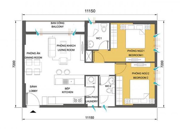 Cho thuê căn hộ Masteri Thảo Điền 2 phòng ngủ